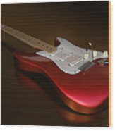 Stratocaster On A Golden Floor Wood Print by James Barnes