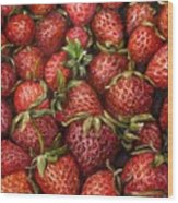 Strawberries -2 Contemporary Oil Painting Wood Print by Natalja Picugina