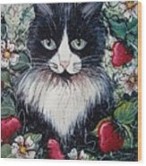 Strawberry Lover Cat Wood Print by Natalie Holland