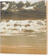 Sun Rays And Clouds Over Santa Cruz Wood Print by Rich Reid