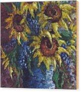 Sunflower Bouquet Wood Print by David G Paul