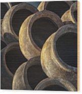 Sunlit Pottery Wood Print by Sandra Bronstein