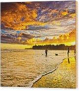 Sunset At The Coast Wood Print by Iris Greenwell