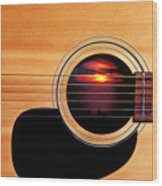 Sunset In Guitar Wood Print by Garry Gay
