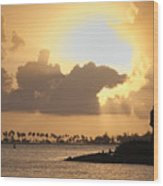 Sunset In San Juan Bay Wood Print by George Oze