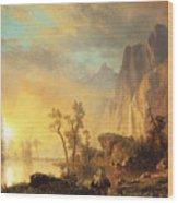 Sunset In The Rockies Wood Print by Albert Bierstadt