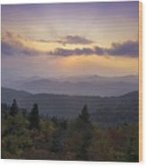 Sunset On The Blue Ridge Parkway Wood Print by Rob Travis
