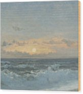 Sunset Over The Sea Wood Print by William Pye