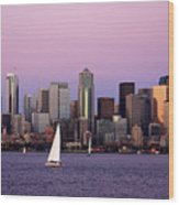 Sunset Sail In Puget Sound Wood Print by Adam Romanowicz