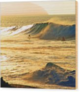 Sunset Surfers Wood Print by Kevin Smith