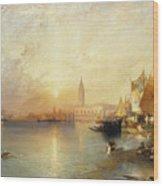 Sunset Venice Wood Print by Thomas Moran