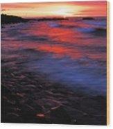Superior Sunrise Wood Print by Larry Ricker