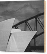 Sydney Opera House With Harbour Bridge Wood Print by Avalon Fine Art Photography