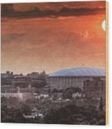 Syracuse Sunrise Over The Dome Wood Print by Everet Regal