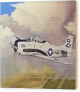 T-28 Over Iowa Wood Print by Marc Stewart