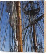 Tall Ship Rigging Lady Washington Wood Print by Garry Gay