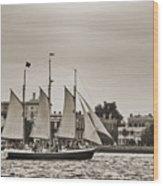 Tall Ship Schooner Pride Off The Historic Charleston Battery Wood Print by Dustin K Ryan