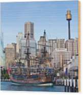 Tall Ships - Sydney Harbor Wood Print by Charles Warren