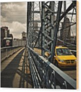 Taxi Crossing Smithfield Street Bridge Pittsburgh Pennsylvania Wood Print by Amy Cicconi