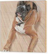 Taz My Best Friend Wood Print by Vanda Luddy