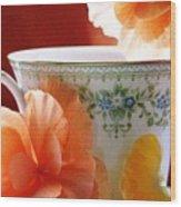 Tea In The Garden Wood Print by Angela Davies