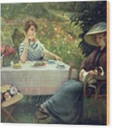Tea Time Wood Print by Jacques Jourdan
