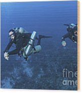 Technical Divers With Equipment Wood Print by Karen Doody