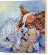 Teddy Hugs - Papillon Dog Wood Print by Lyn Cook