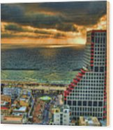 Tel Aviv Lego Wood Print by Ron Shoshani