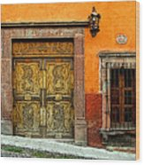 Terracotta Wall 1 Wood Print by Mexicolors Art Photography