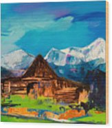 Teton Barn  Wood Print by Elise Palmigiani