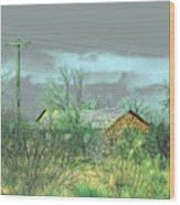 Texas Farm House - Digital Painting Wood Print by Merton Allen