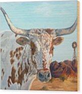 Texas Longhorn Wood Print by Jana Goode
