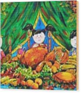 Thanksgiving Day Wood Print by Zaira Dzhaubaeva
