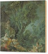 The Angler Wood Print by Francois Boucher