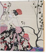 The Backless Dress Wood Print by Georges Barbier