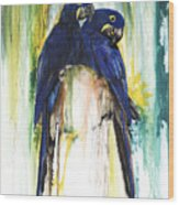 The Blue Parrots Wood Print by Anthony Burks Sr