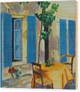 The Blue Shutters Wood Print by Elise Palmigiani