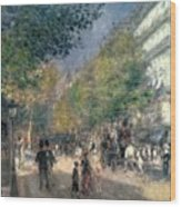 The Boulevards  Wood Print by Pierre Auguste Renoir