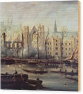 The Burning Of The Houses Of Parliament Wood Print by The Burning of the Houses of Parliament