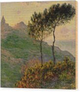 The Church At Varengeville Against The Sunlight Wood Print by Claude Monet