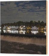 The Colorful Lights Of Boathouse Row Wood Print by Bill Cannon