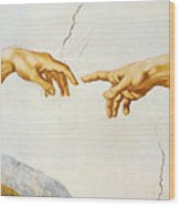The Creation Of Adam Wood Print by Michelangelo Buonarroti