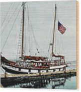 The Cutty Sark In Penn Cove Fog Wood Print by Perry Woodfin