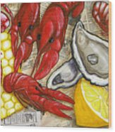 The Daily Seafood Wood Print by JoAnn Wheeler