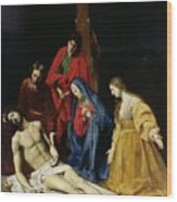 The Descent From The Cross Wood Print by Nicolas Tournier