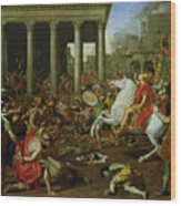 The Destruction Of The Temples In Jerusalem By Titus Wood Print by Nicolas Poussin