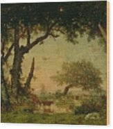 The Edge Of The Forest At Fontainebleau Wood Print by Theodore Rousseau
