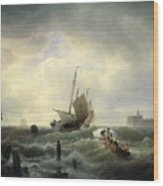 The Entrance To The Harbour At Hellevoetsluys Wood Print by Andreas Achenbach