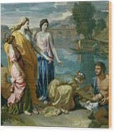 The Finding Of Moses Wood Print by Nicolas Poussin